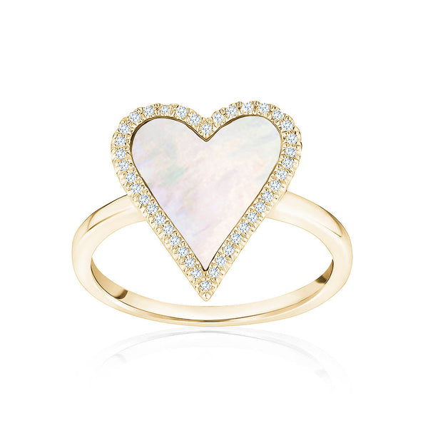 Diamond Mother of Pearl Heart Ring