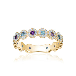Diamond Amethyst and Aquamarine Ring