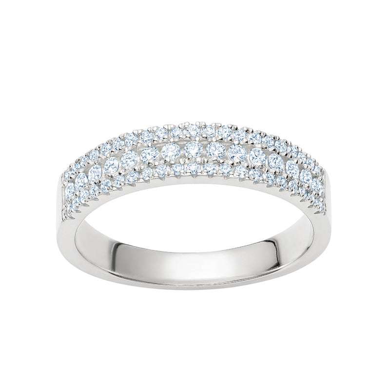 Three Row Semi Pavé Ring