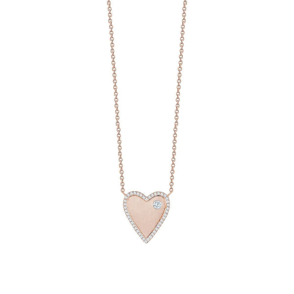 Diamond Bordered Heart Necklace