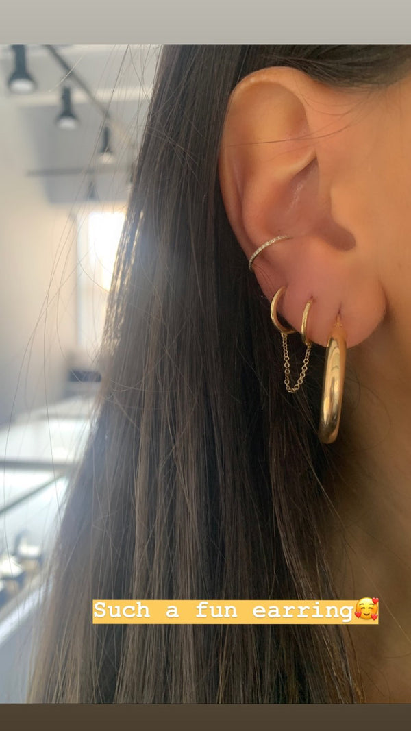Double Huggie Chain Earring