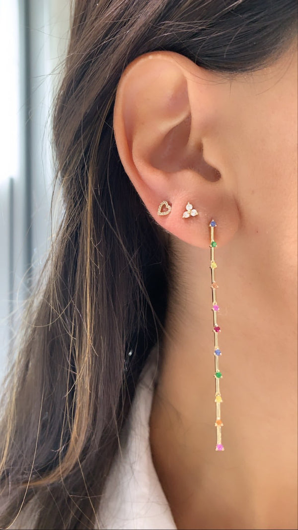 Rainbow Dangling Statement Earrings