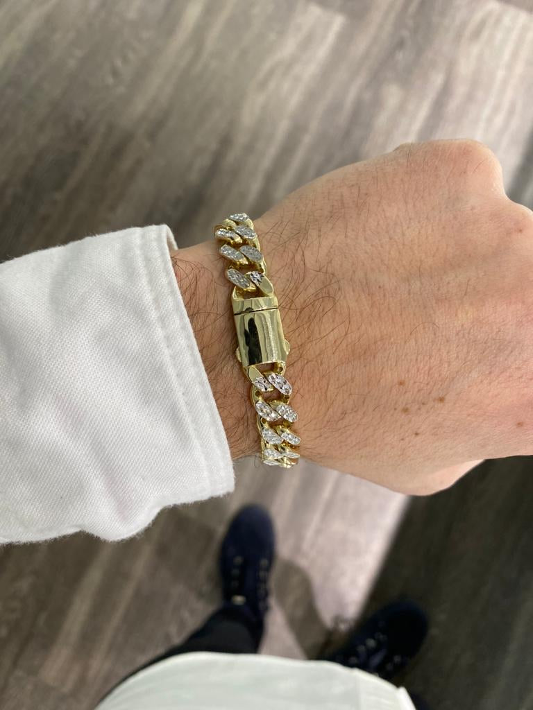 Hollow Two-Tone Miami Cuban Bracelet