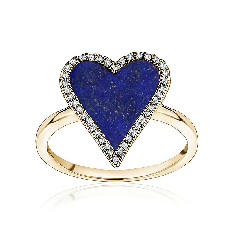 Diamond Navy Heart Ring