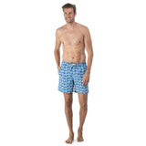 Mens blue swim shorts with a light blue turtle pattern
