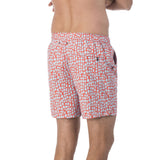 Mens Zip fastened light blue and coral patterned swim trunks