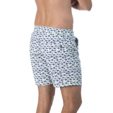 mens zip fastened pale blue swim trunks with violet purple kangaroo pattern