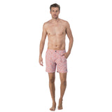 Mens Zip fastened light blue and coral patterned swim shorts