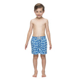 Boys blue swim shorts with a light blue turtle pattern