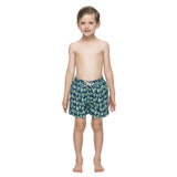 Boys dark blue swim trunks with a green turtle pattern