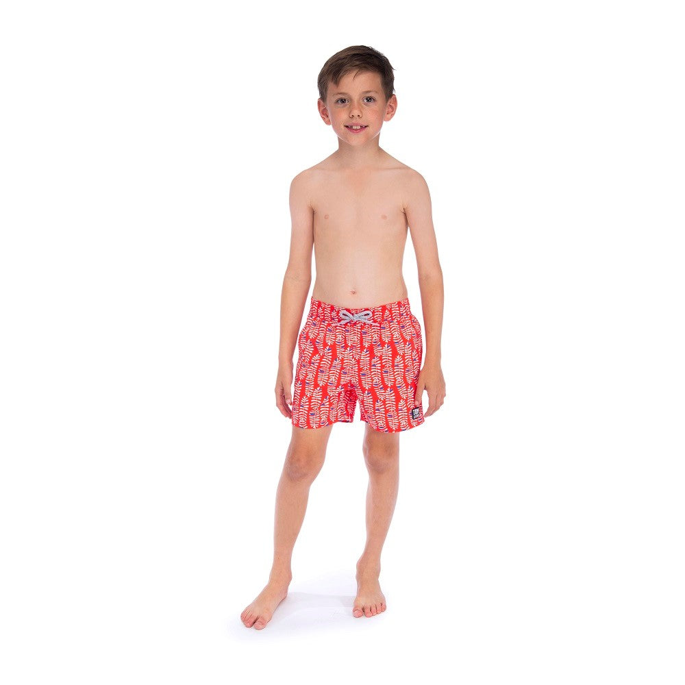 f595585718 ... boys red swim shorts with white rowan leaf and blue pattern ...