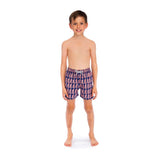 Boys dark navy blue swim shorts with pale pink fern leaf pattern