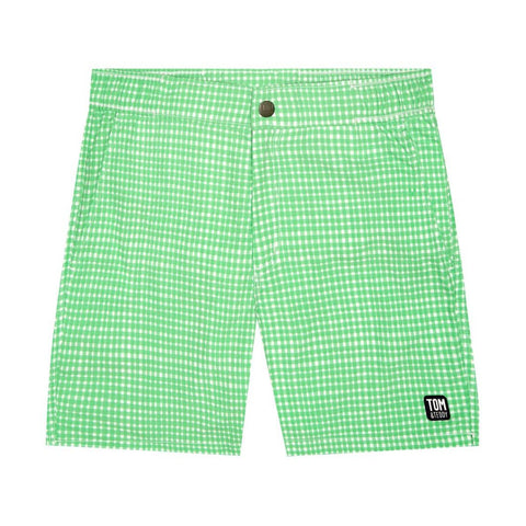 Green Gingham Flat Front