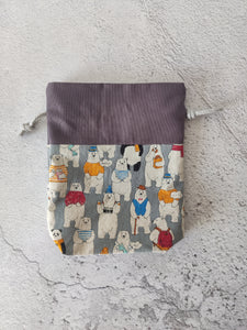 Hand Sewn Bear Print Sock Project Bag