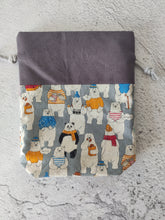 Load image into Gallery viewer, Hand Sewn Bear Print Sock Project Bag