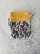 Load image into Gallery viewer, Hand Sewn Cat Print Sock Project Bag