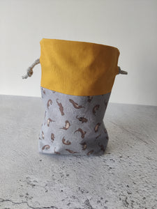 Hand Sewn Otter Print Sock Project Bag