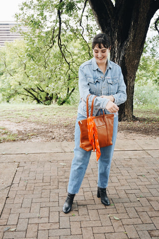 Fall Style - Denim and Whiskey Travel Tote