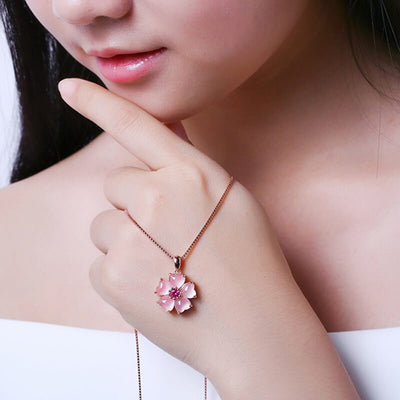 collier quartz rose argent