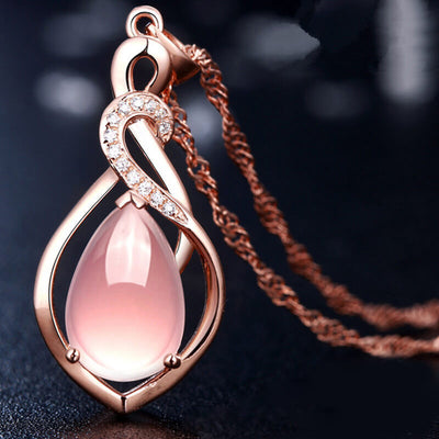 collier avec quartz rose
