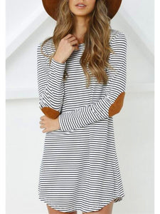 Women Casual Long Sleeve Stripe Long Shirts
