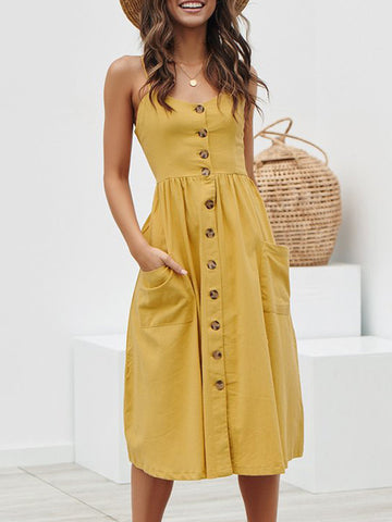Button Emblishment Spaghetti Strap Dresses For Women