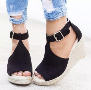 Women Daily Leisure Nubuck Sandals Creepers Wedges