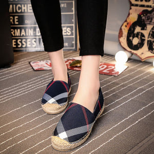 Round Toe Plaid Canvas Flats Slip-on Loafers