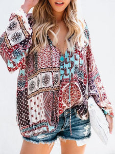 Women Printed V-neck Long-Sleeved Blouse