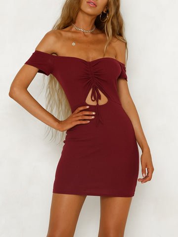 Front Knot Off-the-shoulder Bodycon Dress Sexy Mini Dresses