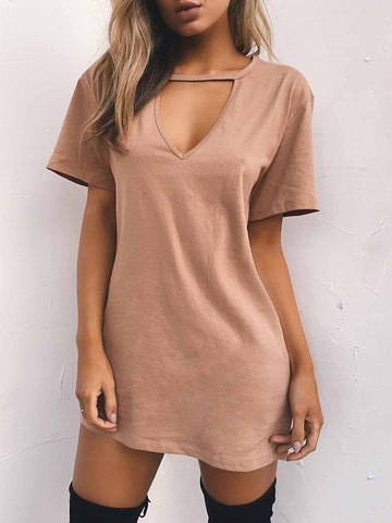Women Deep V T-Shirt Dresses Mini Dresses