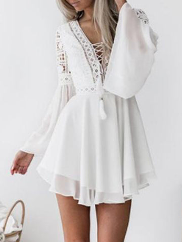 Hollow V-neck Strap Bell sleeve Chiffon Dresses
