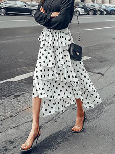 Fashion Chiffon Polka Dot Printed Elastic Waist Irregular Hem Skirts