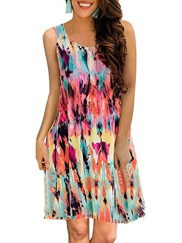 Women Vintage Sleeveless Shift Paneled Dress Print Dresses