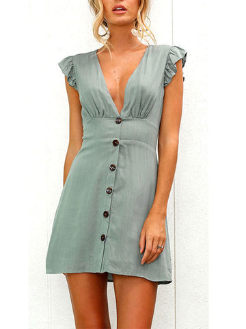 Women Deep V-neck Button-down Dress Sexy Mini Dress