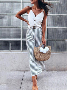 Women Casual Stripe Loose Pants High Waist Wide-leg Pants