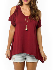 Women Curved Hem Cutout Solid Tee