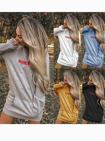 Loose Long Sleeve Letter Print Pocket Hoodie
