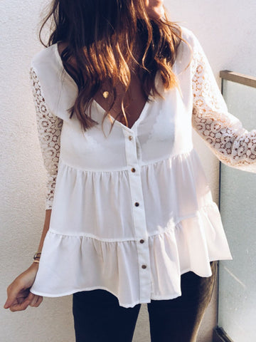 3/4 Sleeve Chiffon Breasted Yoke Top