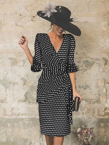 Retro Polka Dot Pleated Keyhole Midi Dresses