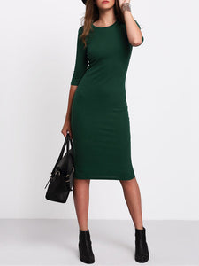 Women Half Sleeve Knitted Sheath Green Elegant Midi Dress