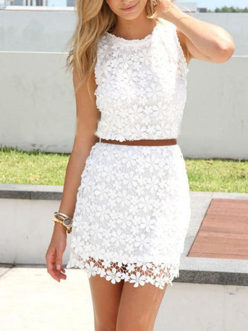 White Women Sleeveless Lace Dress Short Mini Dresses