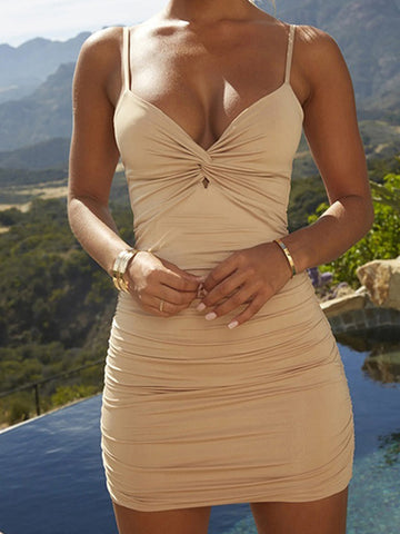 Women Hollow Spaghetti Strap Ruched Bodycon