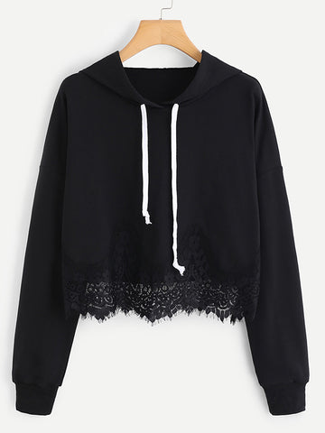 Women Drawstring Lace Hem Crop Hoodies Solid Top