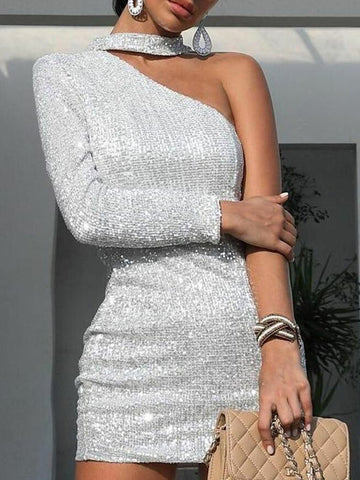 Fashion Sexy Shiny Asymmetric Strapless Evening Dress One Shoulder Bodycon