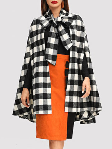 Women Sleeveless Bowknot Loose Plaid Woolen Women's Coat