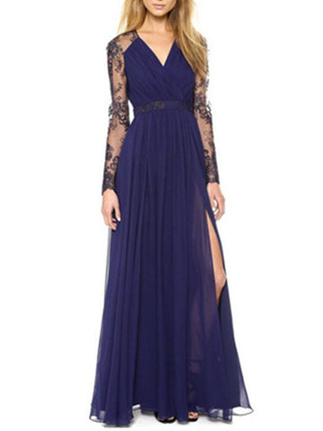 Women V-neck Embroidered Lace Spliced Long Maxi Dress