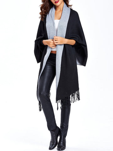 Women Pashmina Cardigan With Tassels