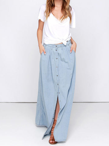 Summer Women's High Waist Denim Skirts Loose Midiskirt