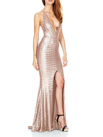 Women Deep V-neck Sleeveless Spaghetti Strap Evening Dresses Sequin Gowns Long Maxi Dresses